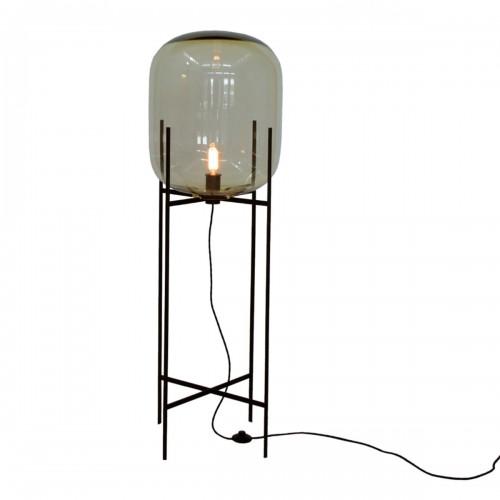 Lámpara de pie, base en hierro, tulipa oval en cristal translúcido, para 1 lámpara E27.