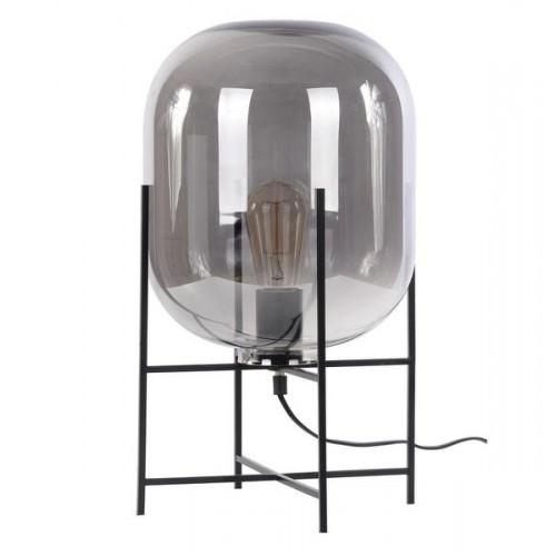 Lámpara de mesa, base en hierro negro, tulipa cristal translúcido, para 1 lámpara E27. Apto led