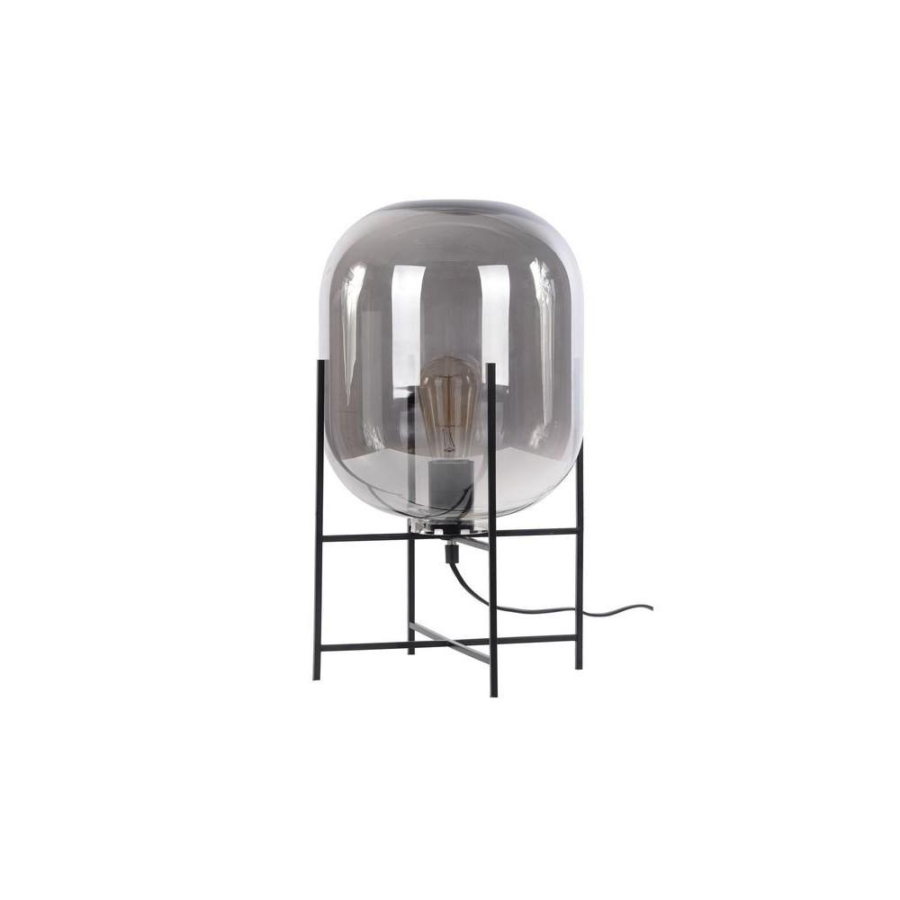L mpara de mesa base en hierro negro tulipa cristal - Mesa de hierro ...