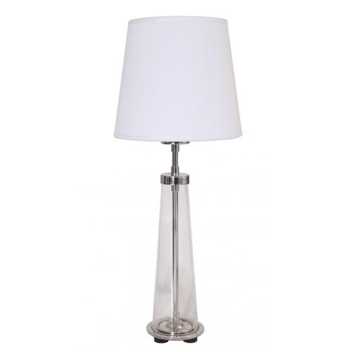 Velador de diseño atemporal, base en cromo, pie en cristal cónico transparente, pantalla lienzo blanco