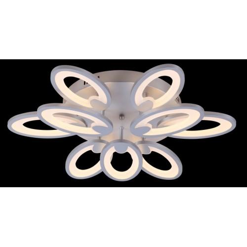 Plafón led, 9 ovalos superpuestos de led de 10w c/u, luz cálida, acero y acrílico satinado.