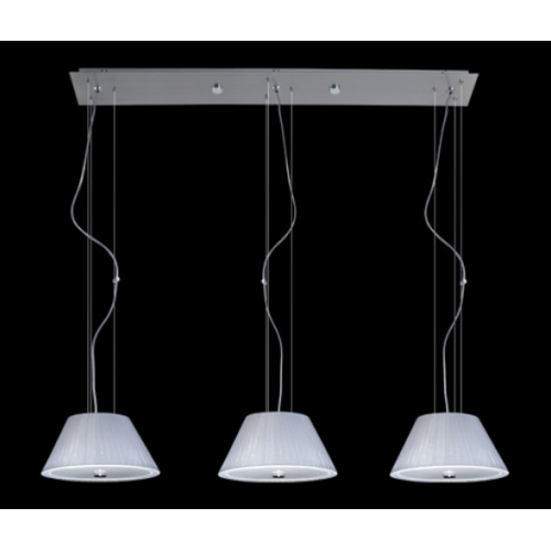 Colgante de organza 3 luces con tapa cristal satinado regulable en altura .