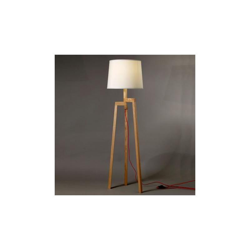 Lámpara de pie trípode, madera de fresno, pantalla cónica en lienzo ...