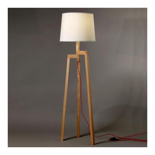 Lámpara de pie trípode, madera de fresno, pantalla cónica en lienzo natural, para 1 lámpara E27, apto led
