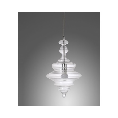 Colgante estilo vintage, tulipa moldeada en cristal transparente  1 luz E27, apto led..