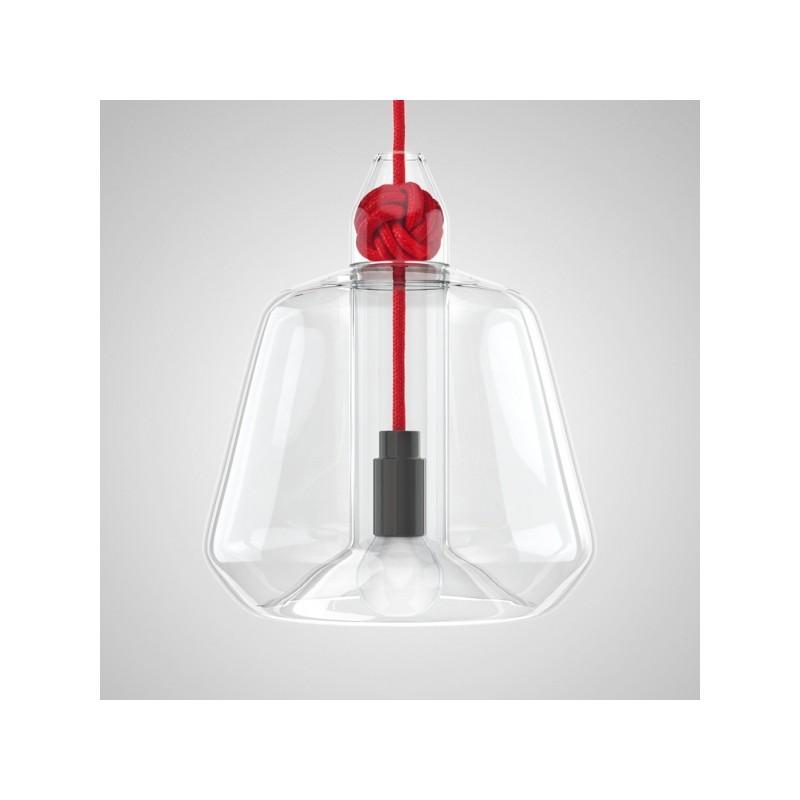 Colgante moderno, cristal transparente con cable textil varios colores  1 lámpara E27, apto led