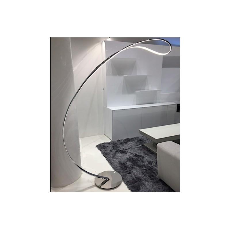 Lámpara de pie Arco, cuerpo en aluminio cromado, luz led cálida, encendido al tacto