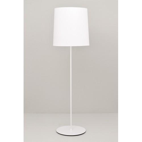 Lámpara de pie recta, cuerpo metàlico, pantalla cónica en lienzo, 2 luces E27, apto led
