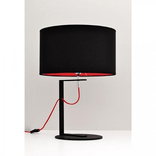 Lámpara de mesa Valencia, cuerpo metàlico, pantalla cilíndrica en lienzo, cable textil color ,1 lámpara E27. apto led.