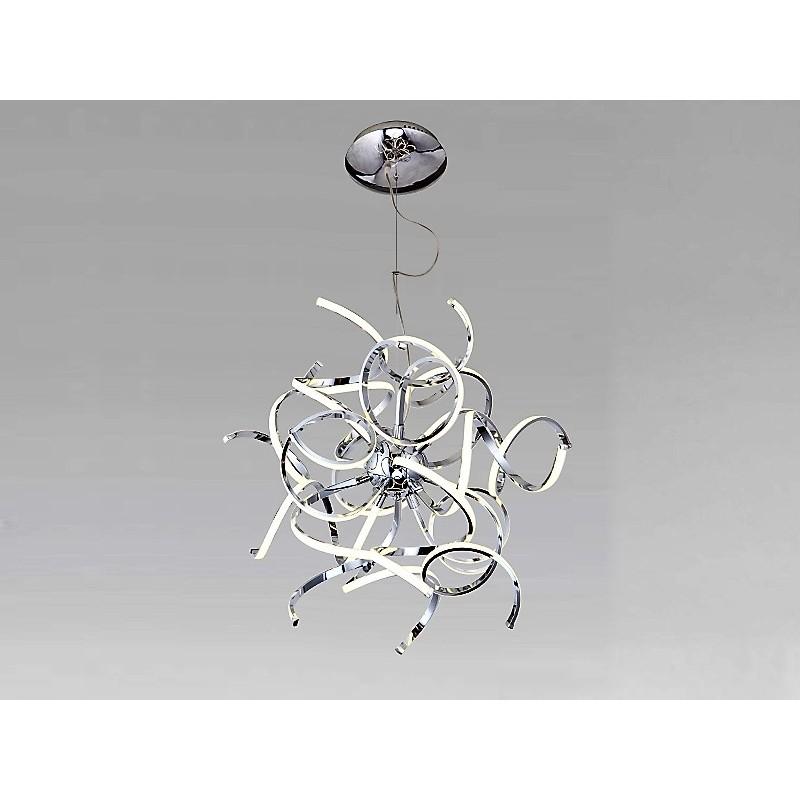 Colgante de diseño cromo,  led  alta potencia 110w luz cálida  altura regulable