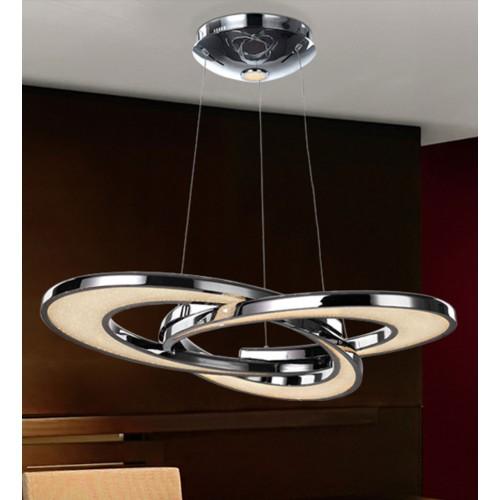 Colgante de led moderno, acero cromo entrelazado  difusor con cristales, luz càlida 125w