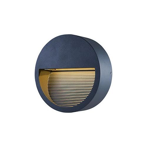 Aplique difusor unidireccional de pared led 8.5w cálido apto intemperie  Cuerpo en fundición de aluminio acabado negro