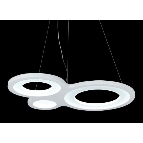 Colgante de diseño de led,  luz cálida difusa  3 círculos unidos por estructura metàlica de aluminio, difusor de acrílico opal