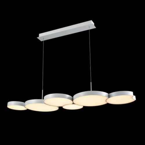 Colgante led, diseño lineal, con placas circulares encastradas 54w luz cálida dimerizable