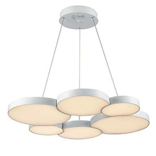 Colgante led, diseño circular, con placas circulares encastradas 54w luz cálida, dimerizable