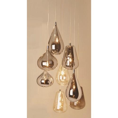 Colgante 6 luces , tulipas gotas estilo retro, cristal ambar y plata.
