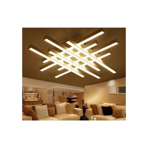 Plafón led luz cálida 115w. Pefiles aluminio entrecruzados. Difusores en acrílico opal