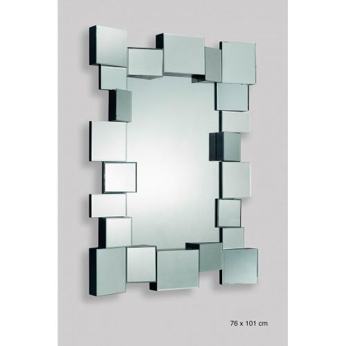 Espejo de diseño geométrico con marco a cuadros