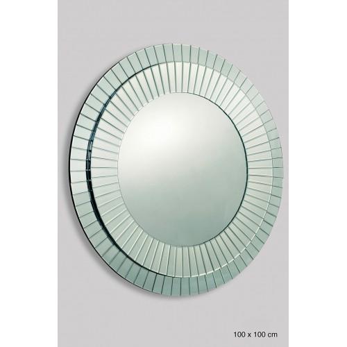 Espejo de diseño circular con marco de listones biselados