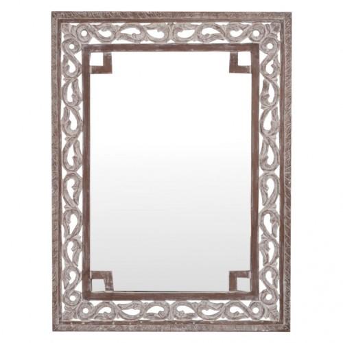 Espejo de diseño madera tallada patinada