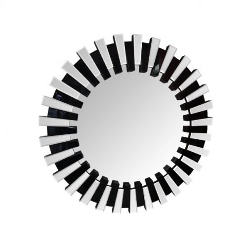 Espejo de diseño circular, con marco dentado espejos biselados bicolor