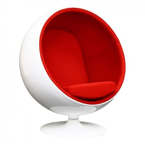 Sillón Ball Chair, fibra vidrio blanca brillante, interior genero. Base giratoria