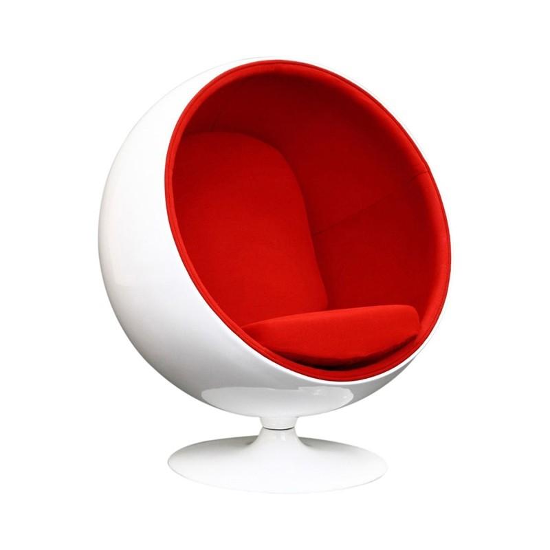 Sillón Ball Chair, fibra vidrio blanca brillante, interior genero. Base giratoria