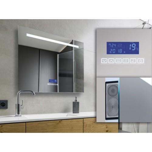 Espejo con luz LED 28w incorporda. Encendido touch, con display con reloj, indicador de temperatura, radio bluetooth