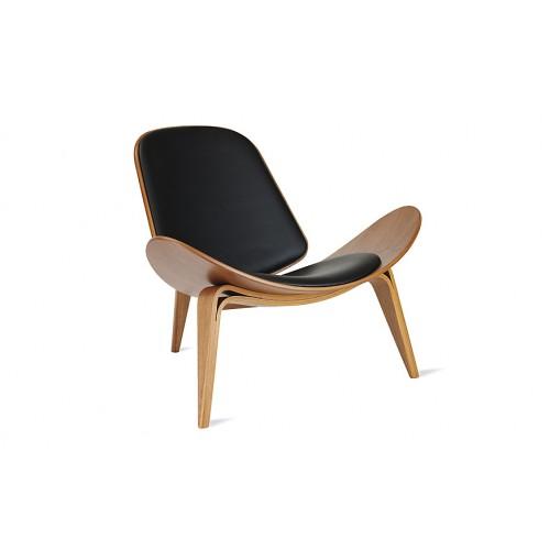 Sillón moderno, en madera de fresno curvada, tapizado en ecocuero negro