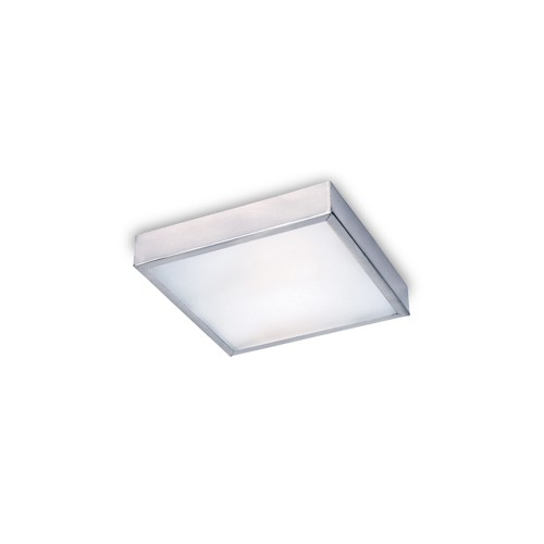 Plafón 25x25cm Africa, chapa de acero platil, vidrio satinado, para 2 lámparas E27