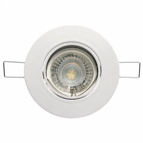 Spot embutir movil policarbonato acabado blanco, con lámpara dicroica led 5w frío