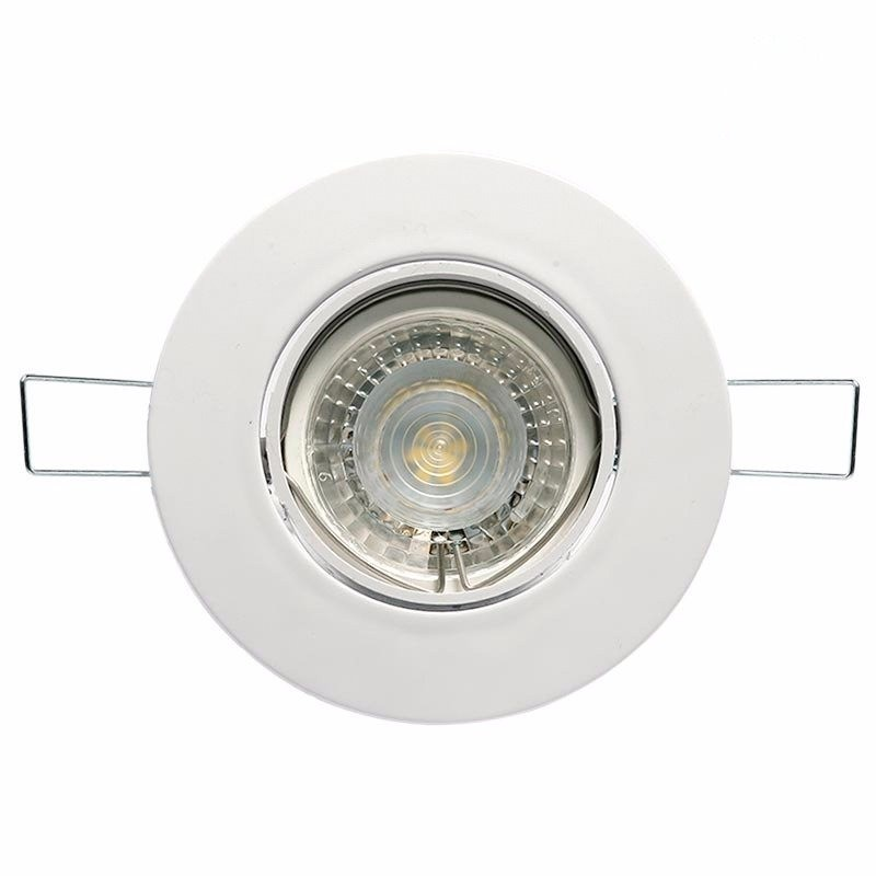 Spot embutir redondo movil policarbonato blanco, con lámpara dicroica led 5w GU10