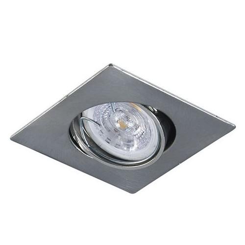 Spot embutir cuadrado movil policarbonato simil platil, con lámpara dicroica led 5w GU10