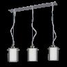 Colgante lineal 3 luces, tulipas dobles cilindricas cristal transparente, interior opal