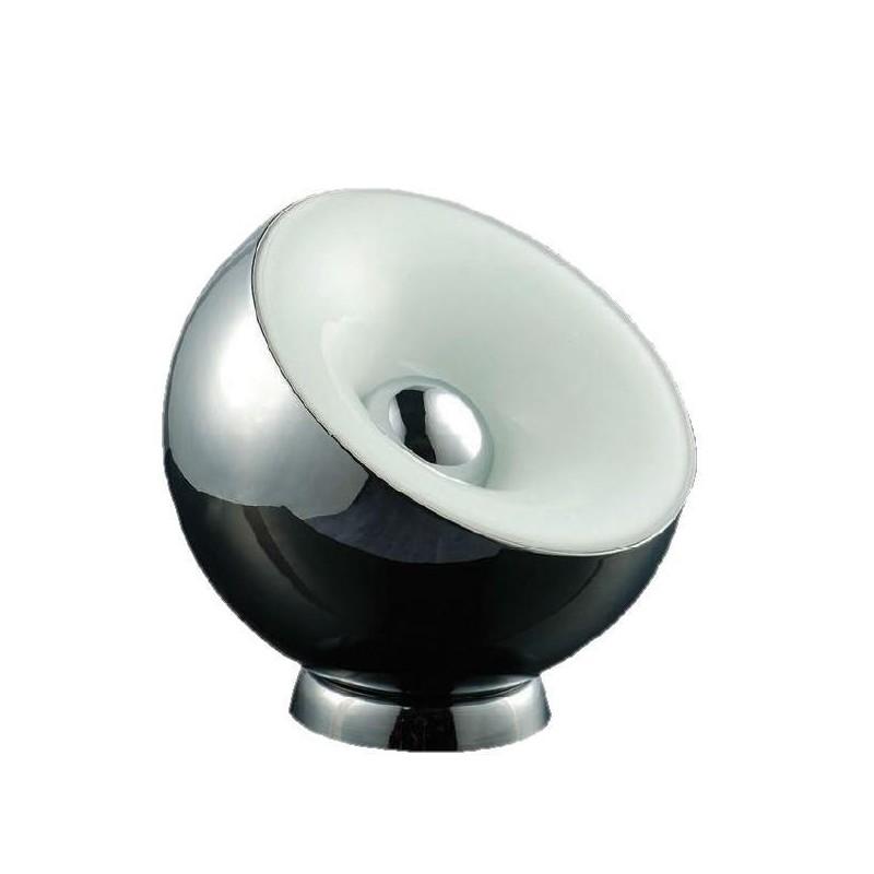 Lámpara de mesa bocha estilo retro. Metal acabado cromo, difusor en cristal opal. Para 3 lámparas E27, apto led.