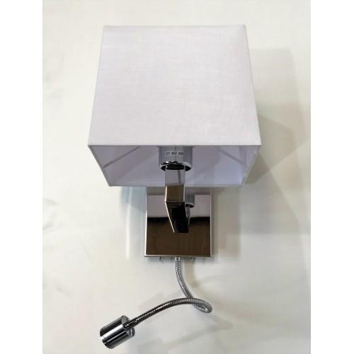 Aplique cabecera combinado, luz difusa con pantalla, brazo flexible con led de haz puntual. Encendido independiente.
