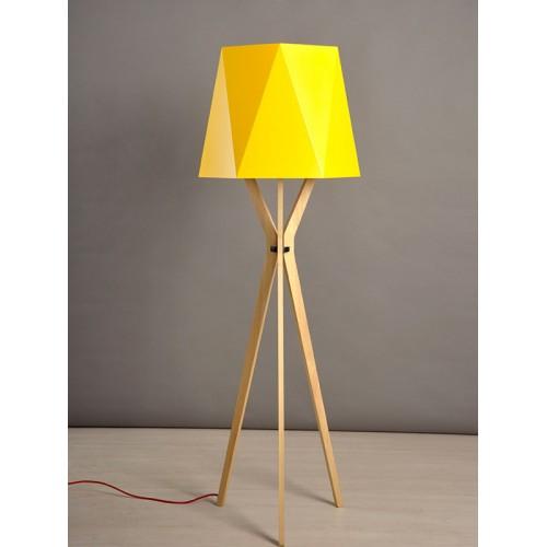 Lámpara de pie trípode, pantalla en vinilo facetada. 1 lámpara E27. Apto led