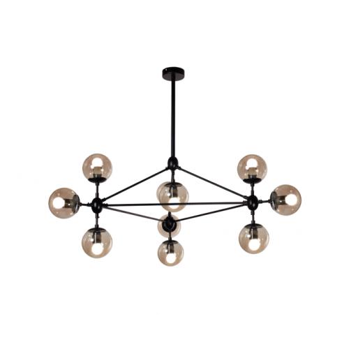 Colgante serie diseño 10 luces. Barrales acero acabado negro. Tulipa globo transparente. Apto lámpara led.