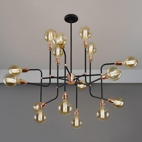 Colgante serie diseño. 16 luces. Brazos metálicos acabado negro con cobre. Lámparas incluidas