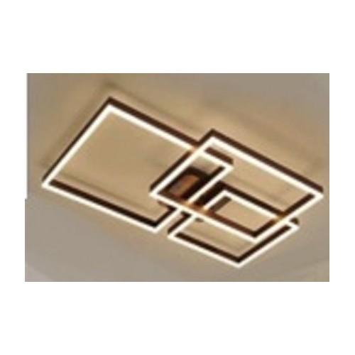 Plafón led marcos metálicos entrecruzados. Aluminio negro. Luz cálida con control remoto.