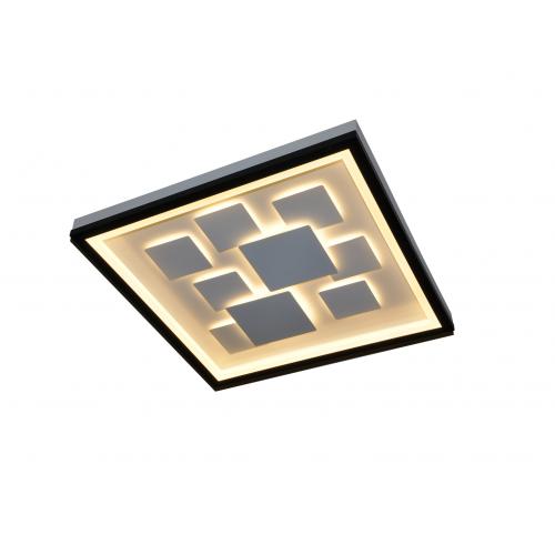 Plafón led diseño exclusivo. Luz efecto difuso y general. Cuerpo y cuadrados interiores en aluminio blanco