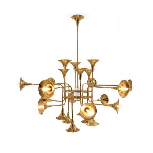 Araña colgante 12 luces, trompetas doradas. Para lámpara E14