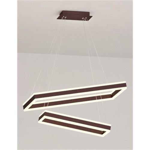 Colgante 2 rectangulos led luz cálida efecto bidireccional. Cuerpo aluminio y acrílico opal.
