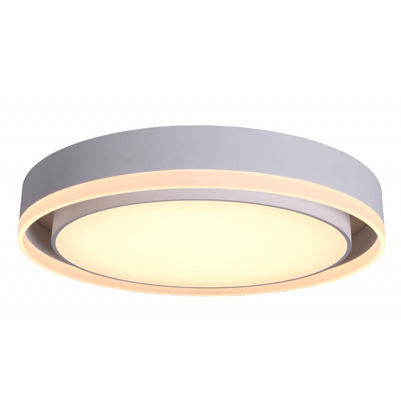 Plafón led con marco anillo. Aluminio blanco mate, difusor acrílico.