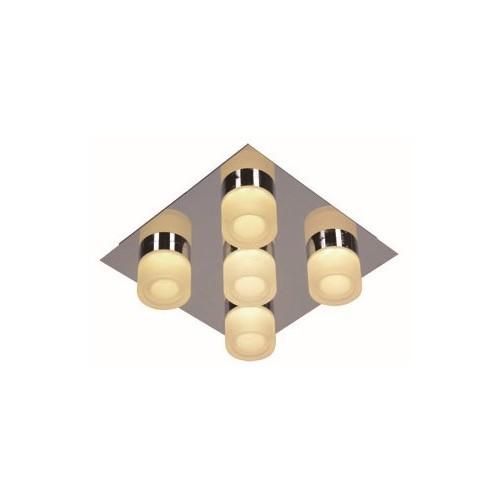 Plafón  5 luces led 4w c/u, cromo