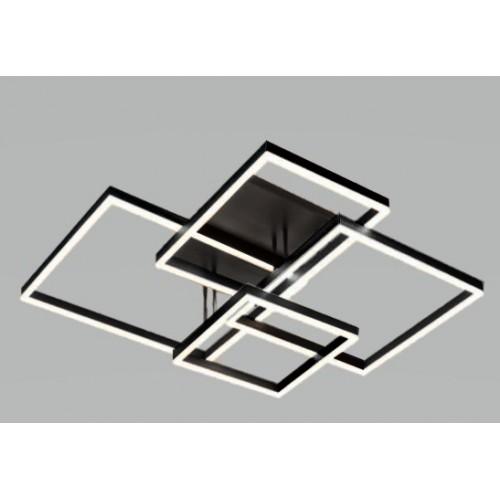 Plafón led 148w,  marcos metálicos entrecruzados. Aluminio negro. Luz cálida con control remoto.