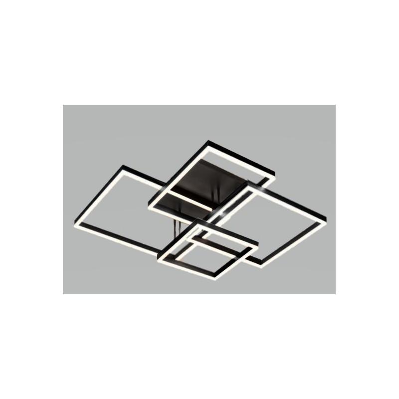 Plafón led diseño exclusivo.  Marcos metálicos entrecruzados. Aluminio negro. Luz cálida con control remoto.