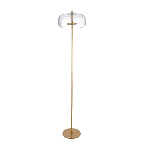 Lámpara de pie con difusor de cristal y cuerpo metálico con acabado dorado mate. 12 w Led luz cálida