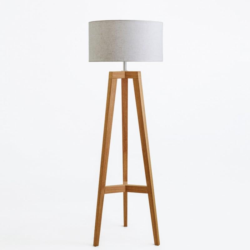 Lámpara de pié tripode roble claro encerado calica