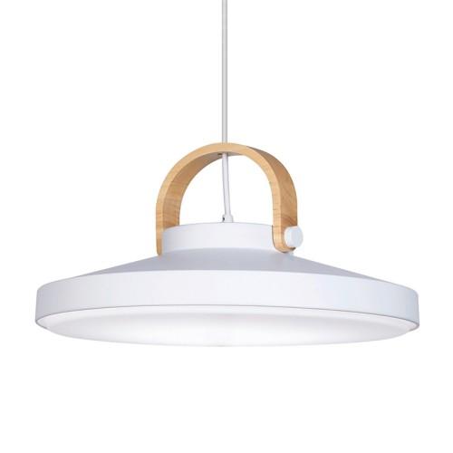 Colgante aluminio blanco mate con detalle de sujecion madera. LED 24w.